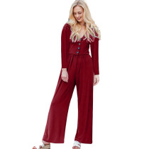 Wine Red Long Sleeve Button Up Wide Leg Jumpsuit TQK550141-103