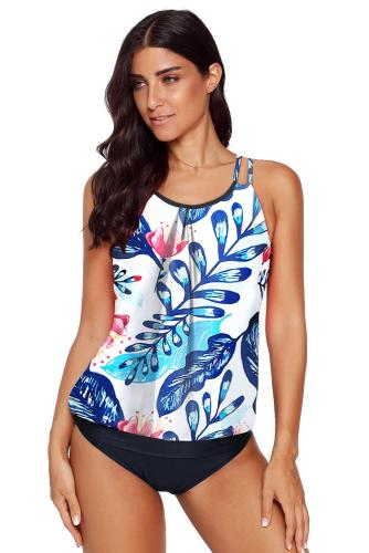 Blue Floral Print Criss Cross Hollow-out Tankini Swimwear LC412066-1