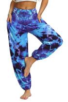 Blue Boho Tie-dye Casual Loose Hippy Harem Pants LC263058-5