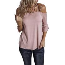 Pink Off Shoulder Bell Sleeve Top TQK210093-10