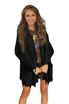 Black Chenille Knit Destroyed Cardigan Sweater