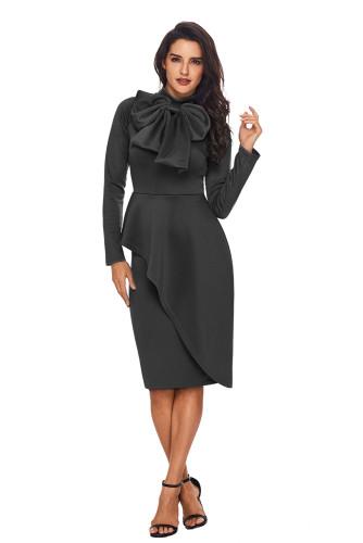 Grey Asymmetric Peplum Style Pussy Bow Dress
