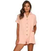 Pink Button Down Short Sleeve Jumper
