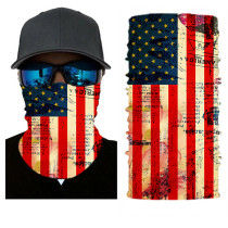 The USA Flag Print Multifunction Outdoor Cycling Mask in Yellow TQZ910203-9