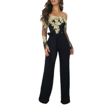 Black Floral Sleeve Wide Leg Strapless Jumpsuit