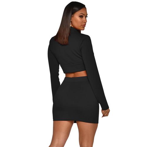 Black Button Details Blazer with Skirt Set TQS710027-2