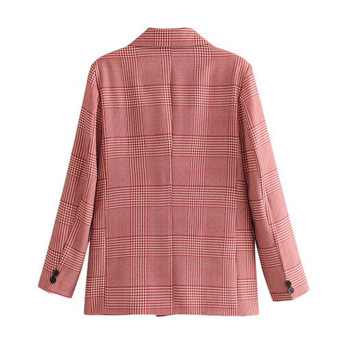 Pink Plaid Double Row Button Lady Blazer Suit TQK260038-10