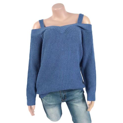 Blue Cold Shoulder Long Sleeve Knit Sweater TQK271046-5