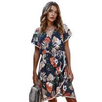 Navy Blue Flower Print Ruffle Hem Casual Dress TQK310314-34