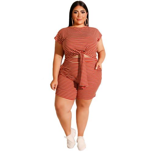 Red Striped Print Plus Size Shorts Pajama Set TQK710062-3
