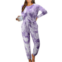 Purple Cotton Blend Long Sleeve Loungewear Jumpsuit TQK550202-8