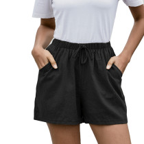Black Pocketed Loose Flax Shorts TQK530012-2