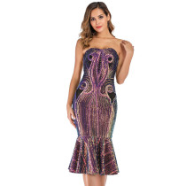 Gold Sequined Off Shoulder Mermaid Dress TQK330050-12