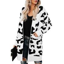 White Leopard Print Down Pocketed Knit Cardigan TQK270056-1