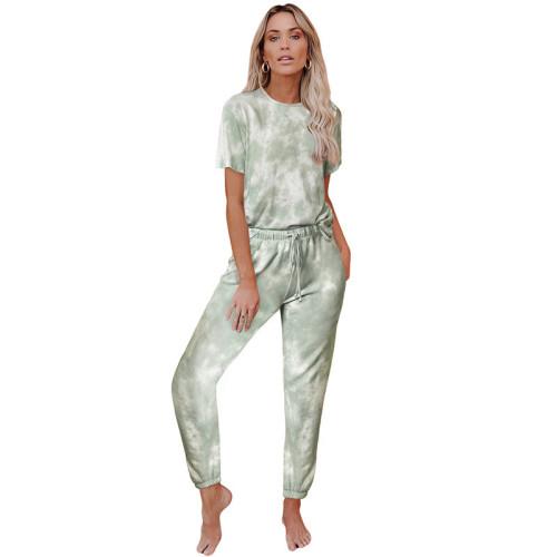 Mint Tie Dye Short Sleeve Home Wear Set TQK710034-28