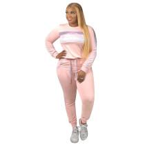 Pink Sequin Splice Sweatshirt with Pant Set TQS710021-10