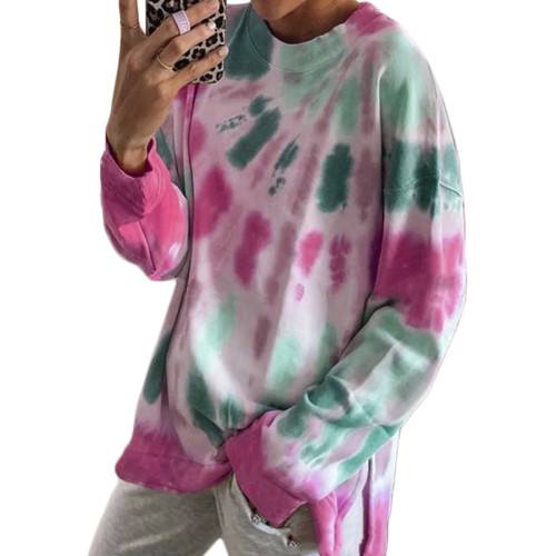 Rosy Cotton Blend Tie Dye Plus Size Sweatshirt TQK210431-6