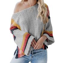 Gray Splice Rainbow Ombre Knit Sweater TQK271055-11