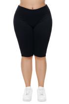 Black Knee Length Plus Size Sports Pants