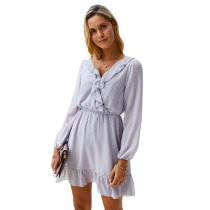 Gray Ruffle Hem Long Sleeve Dress TQK310303-11