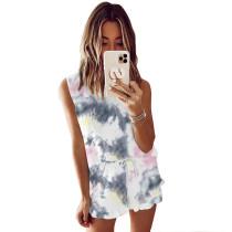 Dark Gray Tie Dye Sleeveless Pajamas Set TQK710050-6