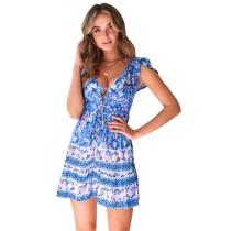 Blue V Neck Floral Print Boho Dress TQK310091-5
