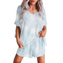 Light Blue Tie Dye Short Sleeve Pajama Set TQK710042-30