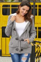 Gray Fur Hood Horn Button Sweater Cardigan