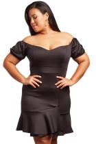 Black Candlelit Song Plus Size Off The Shoulder Dress