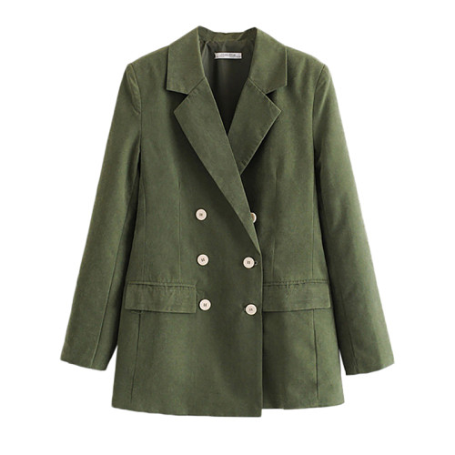 Army Green Double Row Button Lady Blazer Suit TQK260036-27