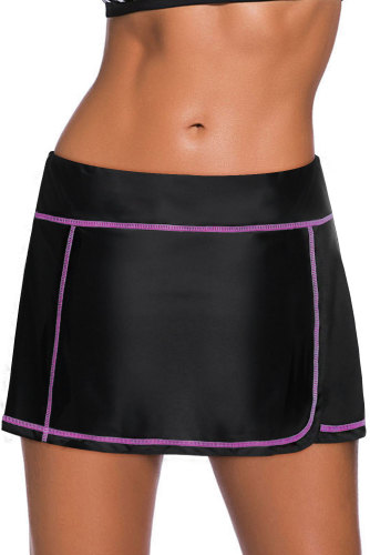 Purple Stitch Trim Black Swim Skirt Bottom LC412137-8