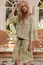 Yellow Three-Quarter Sleeve Mid-Calf Print Dress LC611228-7