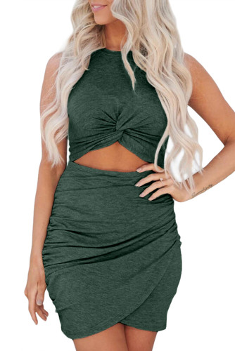 Green Twist Knot Front Cutout Bodycon Dress LC221297-9
