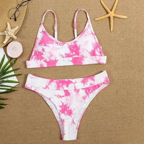 Pink Two-piece Tie Dye Bikini TQK610175-10