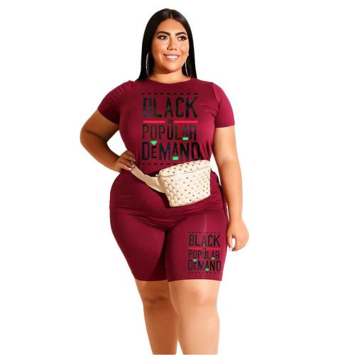Wine Red Letter Print Plus Size Shorts Set TQK710096-103