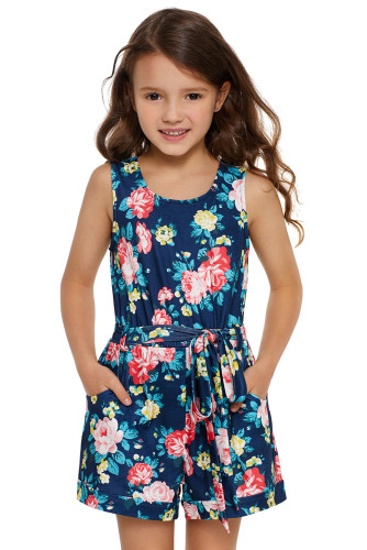 Blue Floral Romper for Little Girls TZ64016-5