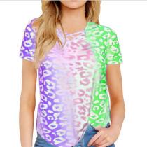 Purple Rainbow Gradient Printed Tees TQK210357-8