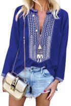 Blue Long Sleeves Front Embroidery Blouse LC252435-5