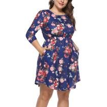 Floral Print Plus Size Boho Dress in Blue