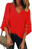 Red Flare Sleeve V Neck Loose Blouse