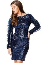 Sequin Frilled Long Sleeve Knee Length Dress LC220962-5