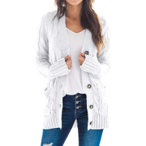 White Button Down Pocketed Knit Cardigan TQK271080-1