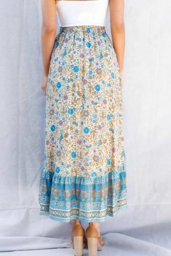 Blue Floral Motif Talking Pretty Maxi Skirt LC65253-5
