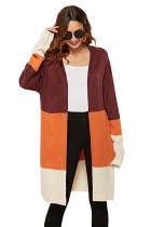 Khaki Orange Coffee Colorblock Open Front Long Cardigans
