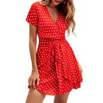 Red Polka Dot Ruffles Hem Mini Dress TQK310127-3