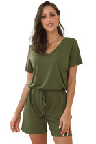 Green Casual Loose Short Sleeve Romper with Pockets