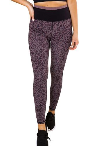 Purple Leopard Print Active Leggings LC26076-8