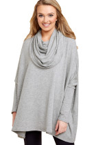Grey Stylish Cowl Neck Long Sleeve Oversize Top