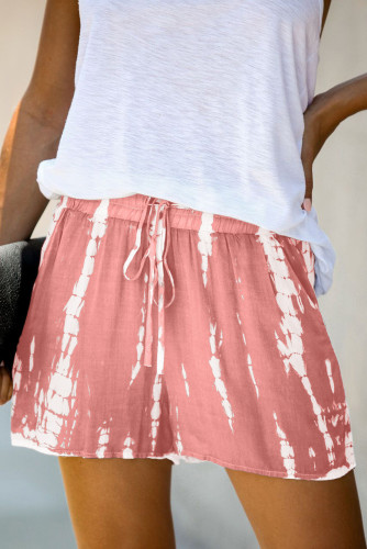 Pink Tie Dye Drawstring Casual Shorts LC77002-10