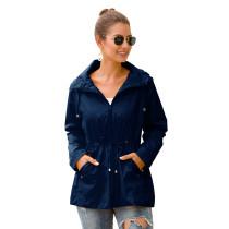 Navy Blue Waterproof Slim Fit Outdoor Coat TQK280013-34